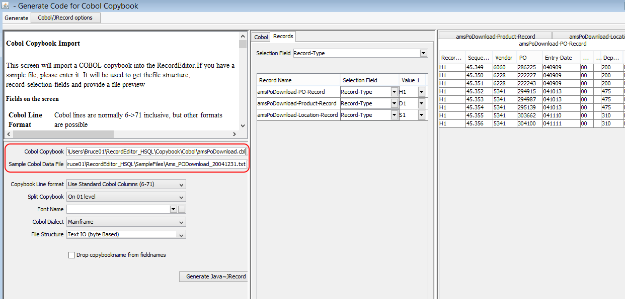 RecordEditor Generate Option